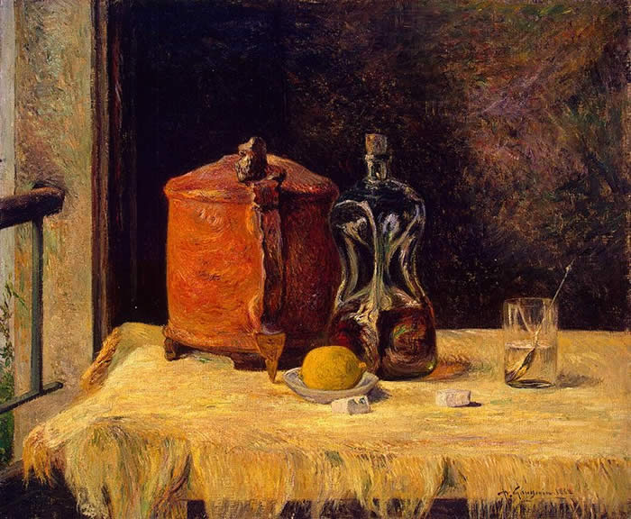 Still life with tine and carrafon. Paul Gauguin