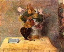Flowers and Japanese Book. Paul Gauguin