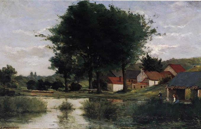 Farm and Pond) Paul Gauguin