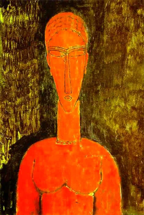 FAKE MODIGLIANI LIVORNO SCULPTURE -authentic painting