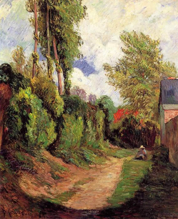 Sunken path (with figure in hat sketching) Paul Gauguin