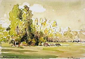 Pissarro watercolour arbres