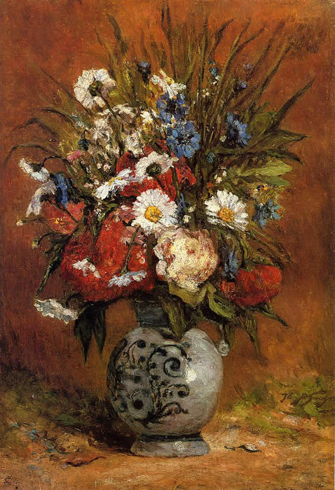 Vase of daisies and peonies Gauguin