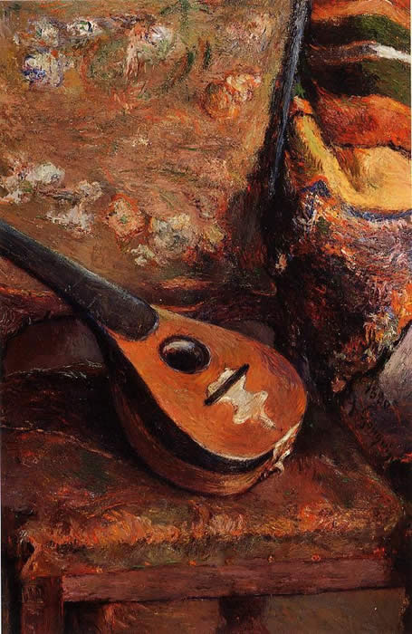 Mandolin on a chair. Paul Guguin