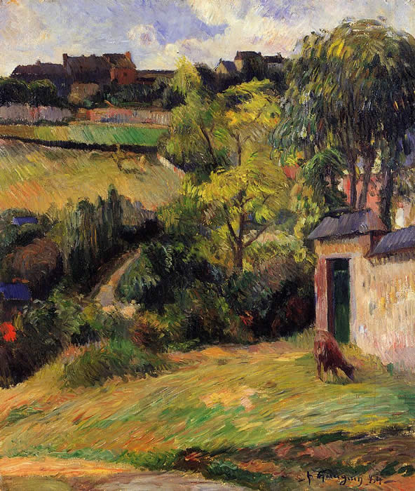Suburbs of Rouen with cow grazing. Paul Gauguin