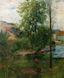 Landscape Study with willow by stream. Paul Gauguin
